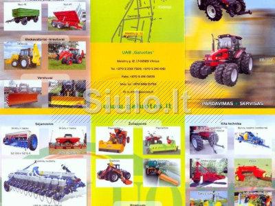 Traktoriai, Raideriai, šienapjovės, žoliapjovės, krūmapjovės, vejapjovės, augalų smulkintuvai ir kt