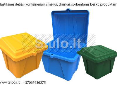 Plastikinės dėžės druskos smėlio mišiniui