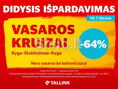 Akcijos Kruizams Ryga - Stokholmas - Ryga