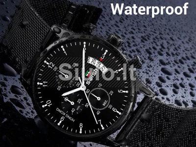 SWISH patrauklus juodas funkcionalus firminėje dėžutėje laikrodukas