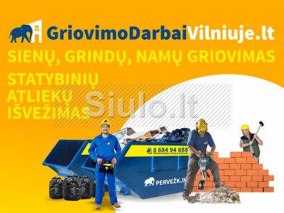 Griovimo darbai Vilniuje. Statybinių atliekų išvežimas
